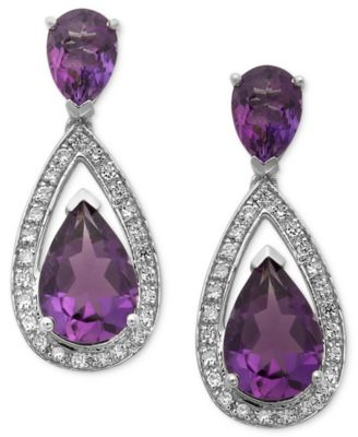Sterling Silver Earrings, Amethyst (5-1/10 ct. t.w.) and Diamond (1/5 ct. t.w.) Pear Drop Earrings