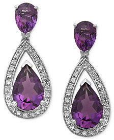 Sterling Silver Earrings, Amethyst (5-1/10 ct. t.w.) and Diamond (1/5 ct. t.w.) Pear Drop Earrings