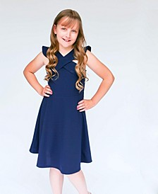 Big Girls Ruffle Shoulder Skater Skirt Dress