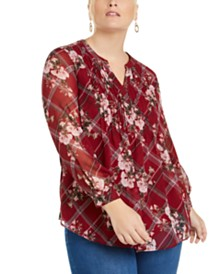 Charter Club Plus Size Printed Pintuck-Front Top, Created for Macy's