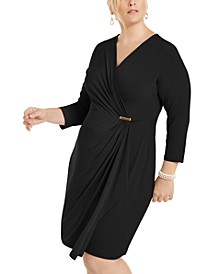 Plus Size Surplice Crossover Dress, Created for Macy's
