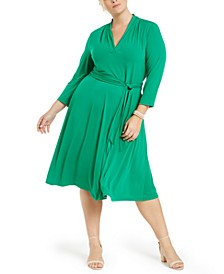 Plus Size V-Neck Belted Dress
