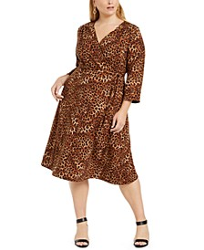 Plus Size Reversible Faux-Wrap Dress, Created for Macy's