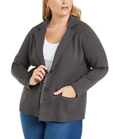 Charter Club Plus Size Cotton Blazer Sweater, Created for Macy's