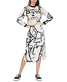 Armani Exchange Long sleeve All Over Print Dress