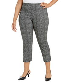 Alfani Plus Size Printed Cropped Pull-On Pants, Created for Macy's
