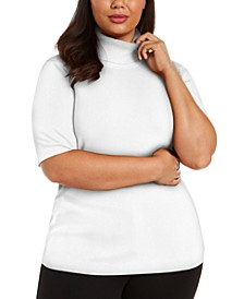 Plus Size Elbow-Sleeve Top