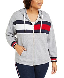Plus Size Flag Colorblocked Zip-Front Hooded Sweatshirt