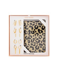 Steve Madden Small Gold-Tone Huggie Hoop Earring and Leopard Print Notebook Gift Set