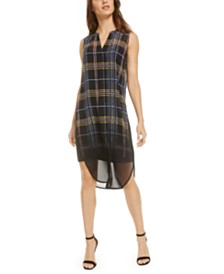 Bar III Plaid Dip-Dye Tunic, Created for Macy's