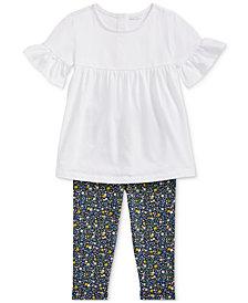 Polo Ralph Lauren Baby Girls Ruffled Top & Floral Leggings