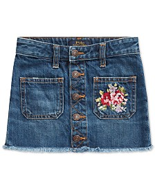 Polo Ralph Lauren Little Girls Denim Button Skirt