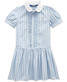 Toddler Girls Cotton Shirting-Strip Dress