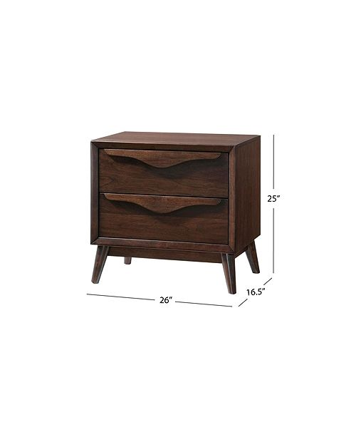 Furniture Allegra 2 Drawer Mid Century Nightstand Quick Ship