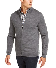Men's Solid Full-Zip Mock-Neck Merino Wool Blend Sweater, Created for Macy's