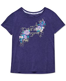 Calvin Klein Performance Big Girls Logo-Print T-Shirt