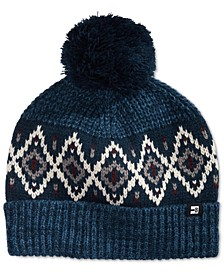 Men's Marl Ribbed Knit Air Isle Beanie with Pom
