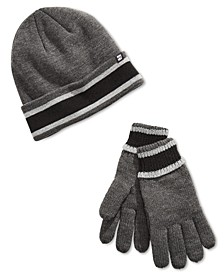 Men's Cuff with Sherpa Lining Beanie and Glove Set