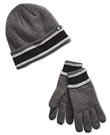 Block Hats Men's Stripe Lined Beanie & Gloves Set