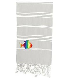 100% Turkish Cotton Lucky Sparkling Rainbow Fish Pestemal Beach Towel