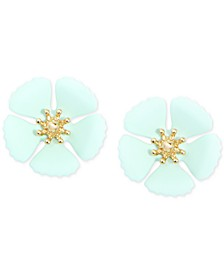 Gold-Tone & Suede-Painted-Finish Flower Stud Earrings