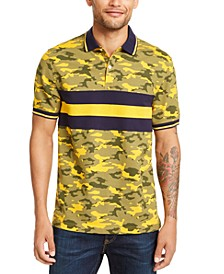 Men's Regular-Fit Camouflage Colorblocked Stripe Polo Shirt, Created for Macy's
