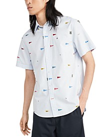Men's Custom-Fit Jon Pennant Stripe Short Sleeve Shirt, Created for Macy's