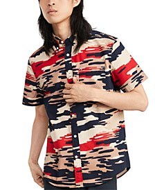 Men's Custom-Fit Roman Camouflage Short Sleeve Shirt, Created for Macy'