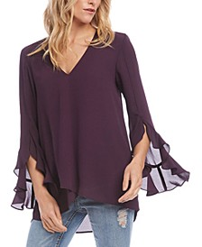 Ruffled-Sleeve Cross-Over Hem Top