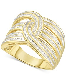 Diamond Baguette Interwoven Statement Ring (1 ct. t.w.) in Sterling Silver (Also available in gold-plated silver)