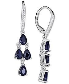 Sapphire (4 ct. t.w.) & White Sapphire (1/10 ct. t.w.) Drop Earrings in Sterling Silver