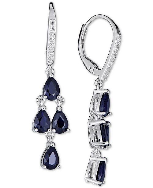 Macy's Sapphire (4 ct. t.w.) & White Sapphire (1/10 ct. t.w.) Drop Earrings in Sterling Silver