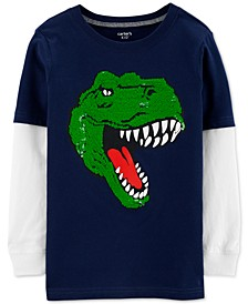 Little & Big Boys Flip-Sequin Dinosaur-Print Layered-Look Cotton T-Shirt