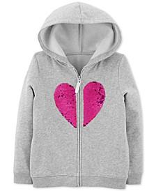 Little & Big Girls Flip-Sequin Heart Zip-Up Fleece Hoodie