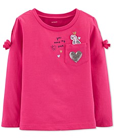 Toddler Girls Cotton Split Shoulder Dinosaur Pocket T-Shirt