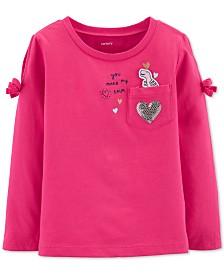Carter's Toddler Girls Cotton Split Shoulder Dinosaur Pocket T-Shirt