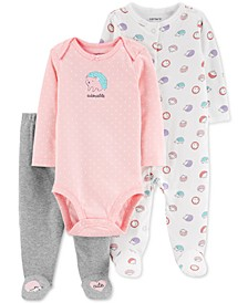Baby Girls 3-Pc. Cotton Hedgehog Bodysuit, Footed Coverall & Footed Pants Set