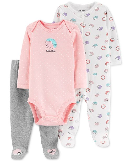 Carter's Baby Girls 3-Pc. Cotton Hedgehog Bodysuit, Footed Coverall & Footed Pants Set