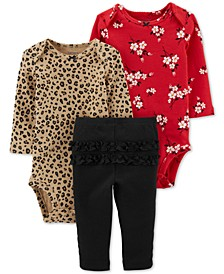Baby Girls 3-Pc. Cotton Leopard-Print & Floral-Print Bodysuits & Ruffled Pants Set