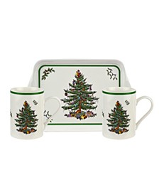 Christmas Tree Melamine Mug and Tray Set