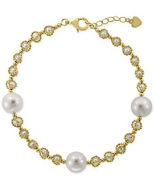 EFFY® Cultured Freshwater Pearl (3-1/2 & 10-1/2mm) Link Bracelet in 18k Gold-Plated Sterling Silver