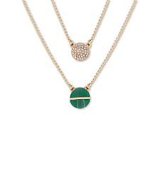 """Gold-Tone Pavé & Stone Double-Layer Pendant Necklace, 18"""" + 3"""" extender"""