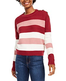 Juniors' Striped Button-Shoulder Sweater