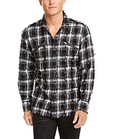 INC Men's Frayed Plaid Shirt, Created for Macy's