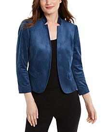 Faux-Suede Stand-Collar Kiss-Front Jacket