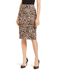 INC Animal-Print Scuba Skirt, Created for Macy's