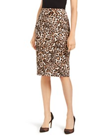 I.N.C. Animal-Print Scuba Skirt, Created for Macy's