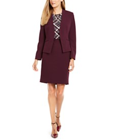 Calvin Klein Collarless Open-Front Jacket, Printed Top & Pencil Skirt