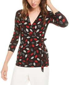 Anne Klein Printed Tie-Waist Top