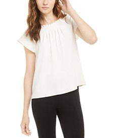 Anne Klein Pleated Cap-Sleeve Top